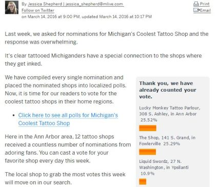 MLIVE coolest tattoo shop Ann Arbor contest