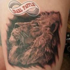Realistic lion tattoo. Gentle lion tattoo. Beautiful lion tattoo.