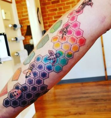 honey bees tattoo color Michigan