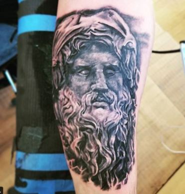 realistic Zeus statue tattoo not neptune Michigan